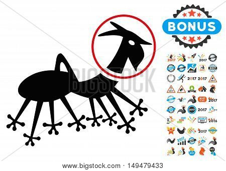 Alien Creature Skafandr icon with 2017 year bonus vector pictograms. Design style is flat symbols, white background.