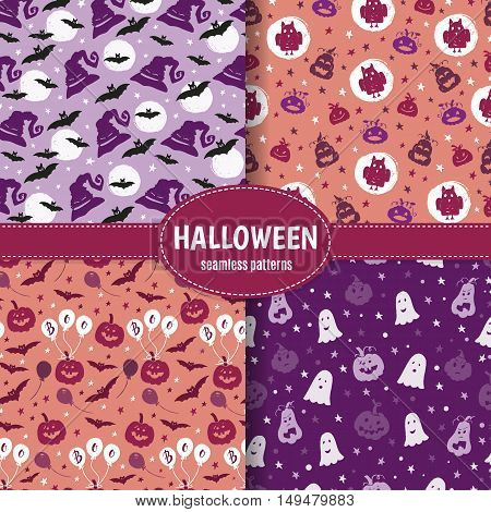 Vector set of Halloween seamless pattern with pumpkin ghost stars bat moon. Hand drawn pattern for Halloween design. Perfect for decoration wrapping papers greeting cards web page background