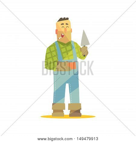 Builder With Brick And Trowel On Construction Site. Graphic Design Cool Geometric Style Isolated Character On White Background