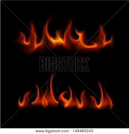 Vector Set of  Different Red Fire Flame Bonfire  Isolated on Background