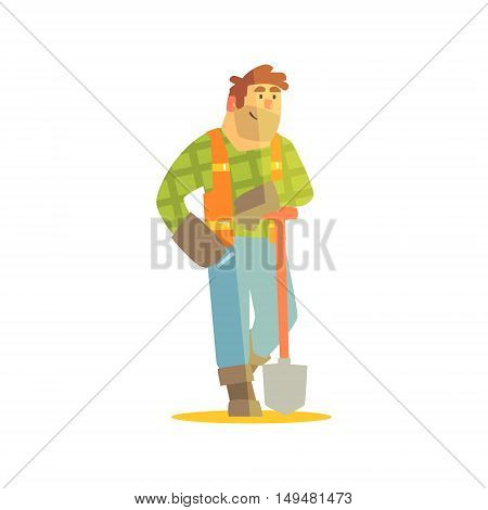 Builder Leaning On Spade On Construction Site. Graphic Design Cool Geometric Style Isolated Character On White Background