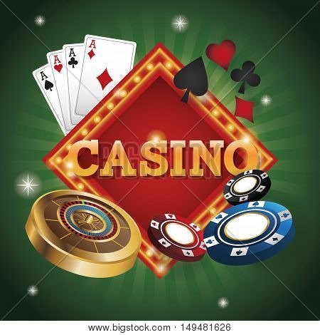 cards of poker roulette and chips icon. Casino and las vegas theme. Colorful design. Vector illustration