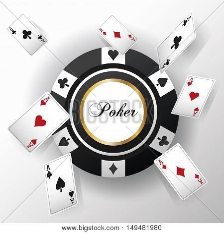 cards of poker and chip icon. Casino and las vegas theme. Colorful design. Vector illustration