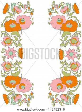 Flowers on white background folk art style Ethnic flowers Floral folk art Folkart Flower pattern Vintage background Vector illustration Ethnic decoration flowers folk ethnic theme Card exotic