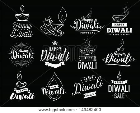 Happy Diwali typography set. Typographic emblems with lamps. Vector logo, text design. Usable for banners, greeting cards, posters, gifts etc