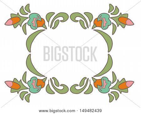 Vintage floral frame Ethnic flowers Floral folk art Folkart Flower pattern Vector illustration Ethnic decoration flowers folk ethnic theme Card exotic Fabulous floral pattern