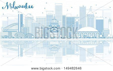 Outline Milwaukee Skyline with Blue Buildings and Reflections. Vector Illustration. Business Travel and Tourism Concept with Modern Architecture. Image for Presentation Banner Placard and Web.