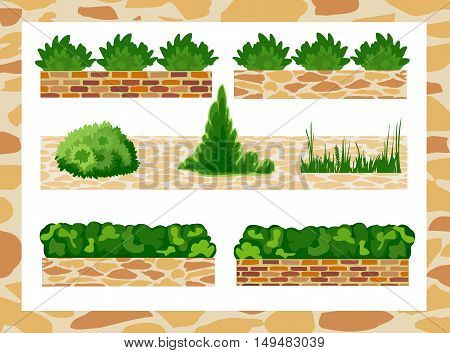 Set of elements for landscape design . Different options of masonry and garden plants.  Vector illustration. Horizontal  location.