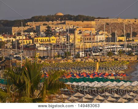the Bay and the city beach Rethymno Crete Greece