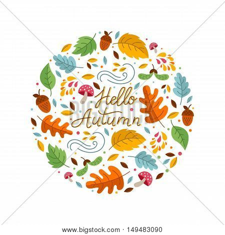 Vector greeting card with autumn elements made in circle and monoline lettering. Mushroom acorn maple leaves isolated on white background. Perfect for seasonal holidays Thanksgiving Day.