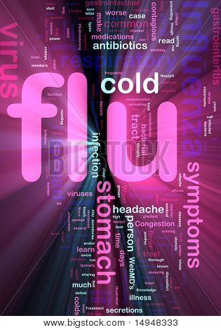 Word cloud concept illustration of  flu influenza glowing light effect