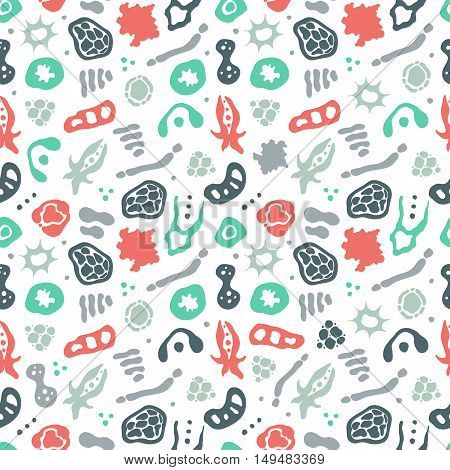Vector seamless pattern with bacterial cells virus and germs. Hand drawn medical background. Vector illustration.