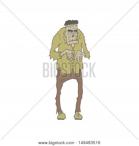 Creepy Zombie With Stitched Eyes With Rotting Flesh Outlined Hand Drawn Adult Style Illustration Isolated On White Background