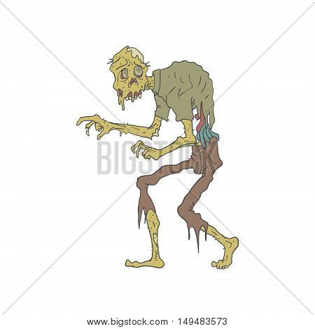Creepy Zombie With Melting Skin With Rotting Flesh Outlined Hand Drawn Adult Style Illustration Isolated On White Background
