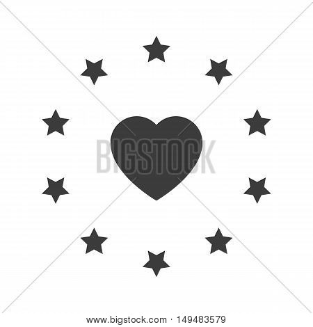 Heart Star Circle Icon. Heart Star Circle Vector Isolated On White Background. Flat Vector Illustrat