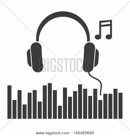 Headphones music note icon. Headphones music note Vector isolated on white background. Flat vector illustration in black. EPS 10