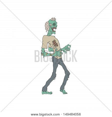 Barefoot Creepy Zombie With Rotting Flesh Outlined Hand Drawn Adult Style Illustration Isolated On White Background