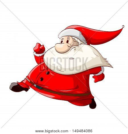 Colorful vector illustration of a runing Santa Claus with red suit for Christmas.