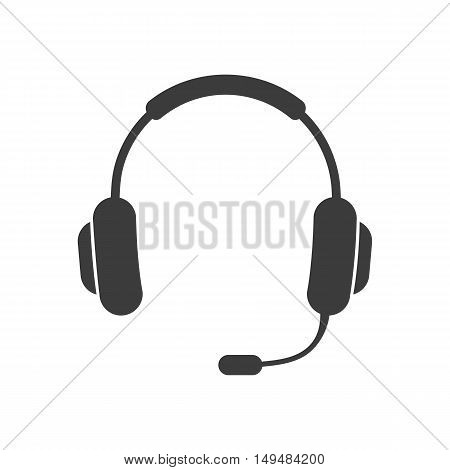 Headphone and microphone icon. Headphone and microphone Vector isolated on white background. Flat vector illustration in black. EPS 10