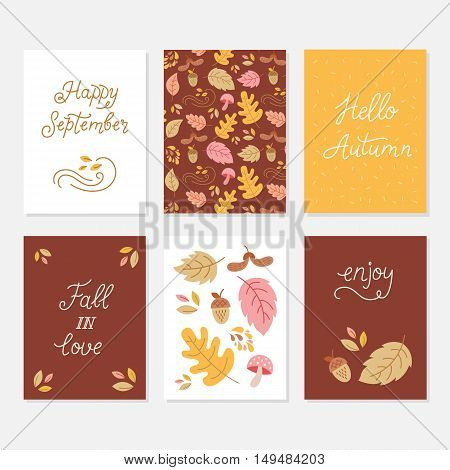 Vector set of greeting cards with autumn elements and lettering. Happy September hello autumn fall in love enjoy - phrases set. Monoline calligraphy quote card collection.