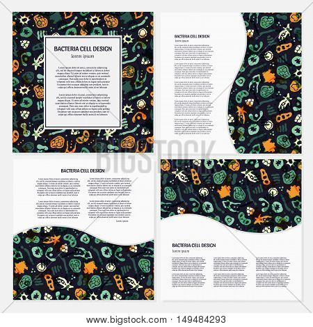 Vector set of corporate identity template with bacterial cells virus and germs. Hand drawn bacteria background and text.