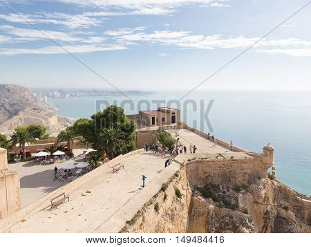 Alicante - 4 October 2015: A view of the city from the top of the ancient fortress of Santa Barbara and the people learn attractions 4 October 2015 El Campello Costa Blanca Spain