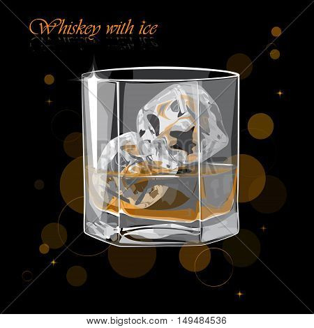 Whiskey with ice. Vector illustration of a glass of whiskey.