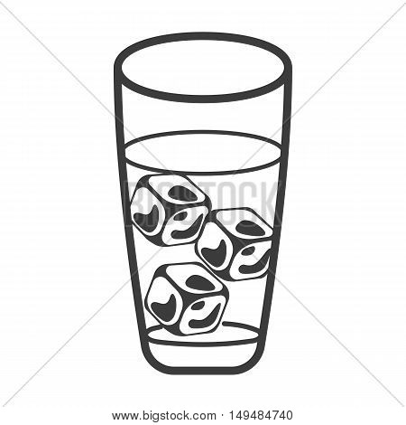 Cold drink with ice cubes icon. Cold drink with ice cubes Vector isolated on white background. Flat vector illustration in black. EPS 10