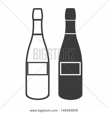 Champagne bottle icon. Champagne bottle Vector isolated on white background. Flat vector illustration in black. EPS 10
