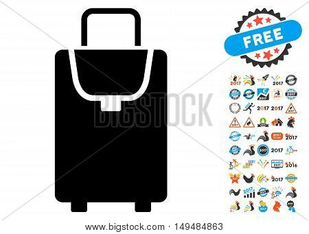 Carryon icon with 2017 year bonus vector pictographs. Clipart style is flat symbols, white background.
