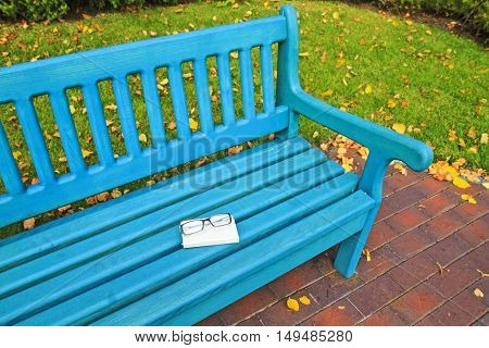 autumn bench with glasses and book, nostalgia, leaves falling, gold colors