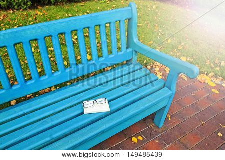 autumn bench with glasses and book, nostalgia, leaves falling, gold colors with sunny hotspot
