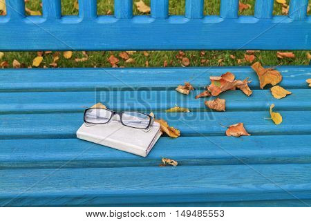 autumn still life with glasses and Notebook, nostalgic mood notes,