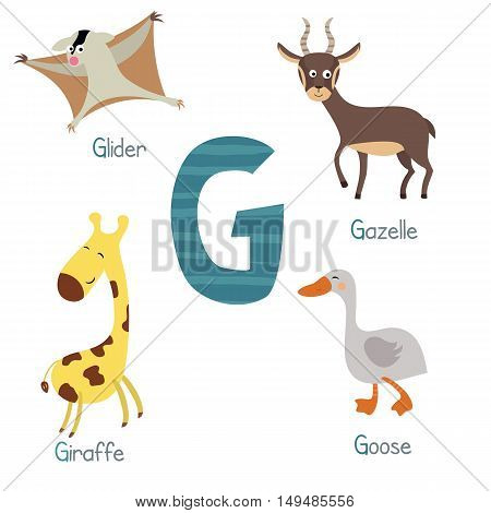 Cute vector zoo alphabet. Funny cartoon animals: glider gazelle giraffe goose.