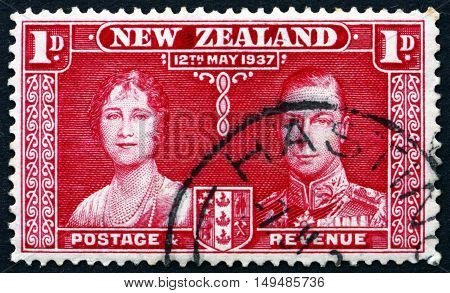 NEW ZEALAND - CIRCA 1937: a stamp printed in New Zealand shows Queen Elizabeth and King George VI Coronation of George VI and Elizabeth circa 1937