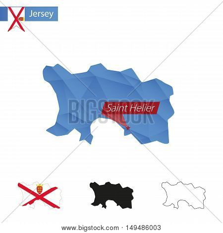 Jersey Blue Low Poly Map With Capital Saint Helier.