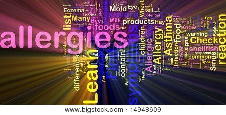 Word cloud concept illustration of  allergies symptoms glowing light effect