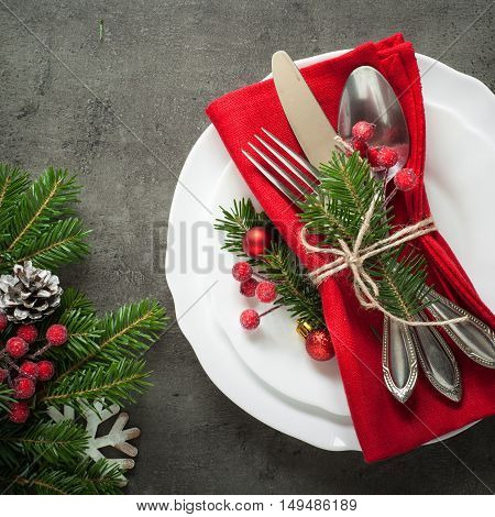 Christmas table setting with christmas decorations. Top view copyspace.