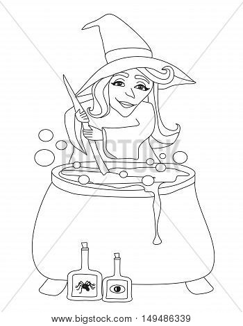 Halloween witch preparing potion , doodle illustration