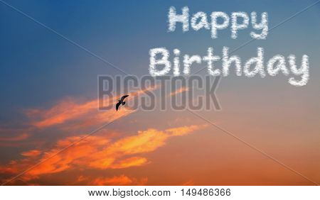 Happy Birthday text and beautiful sunrise