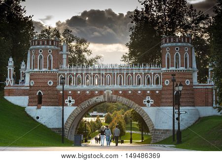 beautiful bridge in the palace and park ensemble Tsaritsyno in Moscow