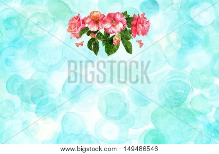 A bouquet of tender pink roses and camellias, flowers and buds, with green leaves and butterflies, hand painted in the style of vintage botanical art, on a teal blue background with copyspace
