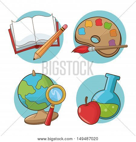 Paint brush palette book pencil planet sphere lupe flask and apple icon. Back to school education and childhood theme. Colorful design. Vector illustration