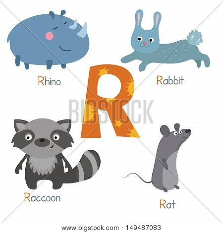Cute vector zoo alphabet. Funny cartoon animals: rhino rabbit raccon rat.