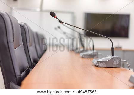 meeting room with LED TV and projector business office background soft focus