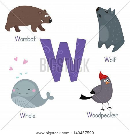 Cute vector zoo alphabet. Funny cartoon animals: wombat wolf whale woodpecker.