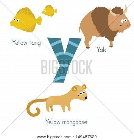 Cute vector zoo alphabet. Funny cartoon animals: yellow tang yak yellow mangoose.