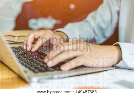 Businessman analyzing investment charts. Accounting soft focus