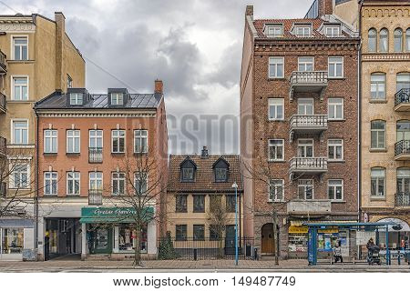 HELSINGBORG SWEDEN - APRIL 25 2016: The front facades of some of the many beautiful old historic buildings that Helsingborg in Sweden has to offer.