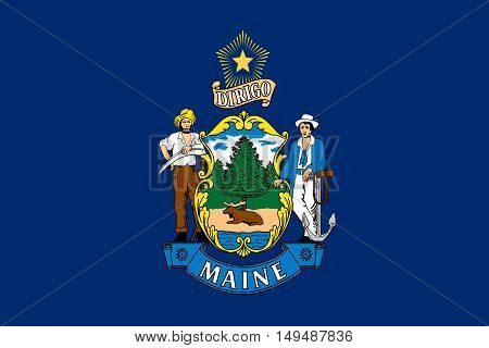 Flag of Maine is a state in New England of United States